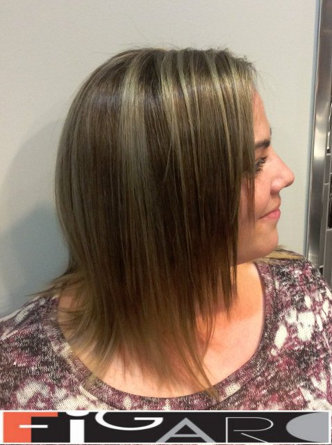 Silver highlights Layered style Medium Length Cut by Figaro Hair Salon Toronto