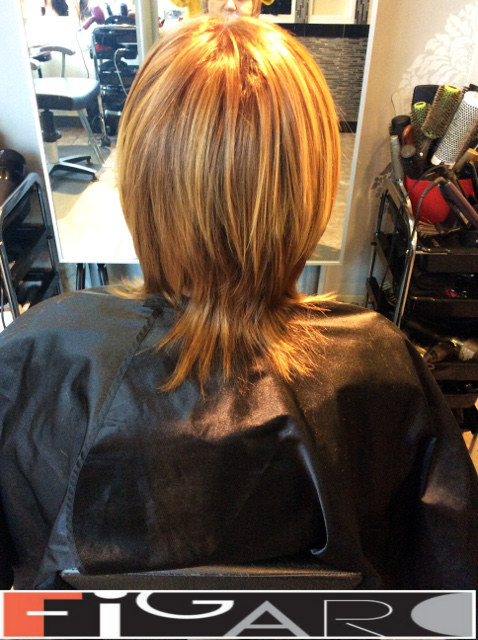 Medium Length Layered Hair Cut Caramel HighLights Figaro Hair Salon Toronto