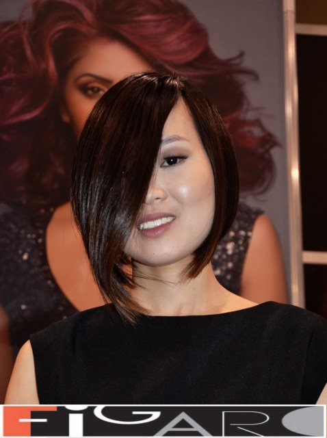 A line Bob Cut Brown Caramel Asian Hair Figaro Hair Salon Toronto