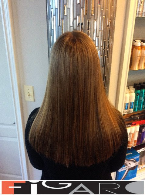 Soft Caramel Highlights done by figaro salon