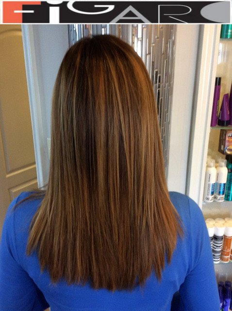 Soft Light Brown Ombre Hair, Medium Length done by figaro salon