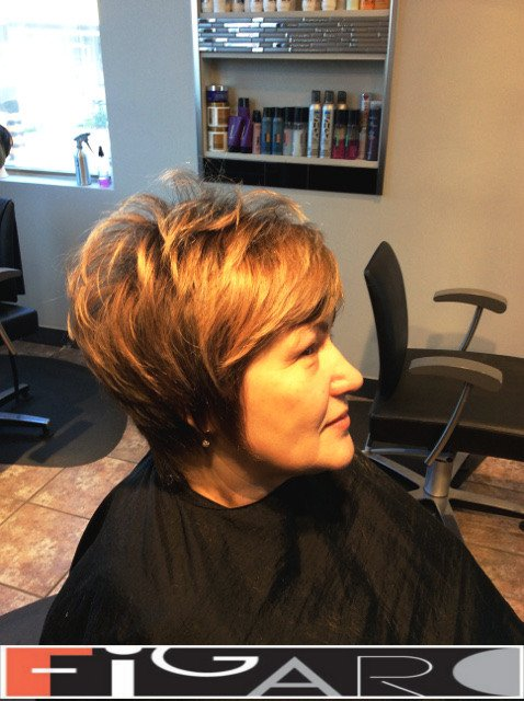 Short layered Hairstyle by Figaro Hair Salon Toronto